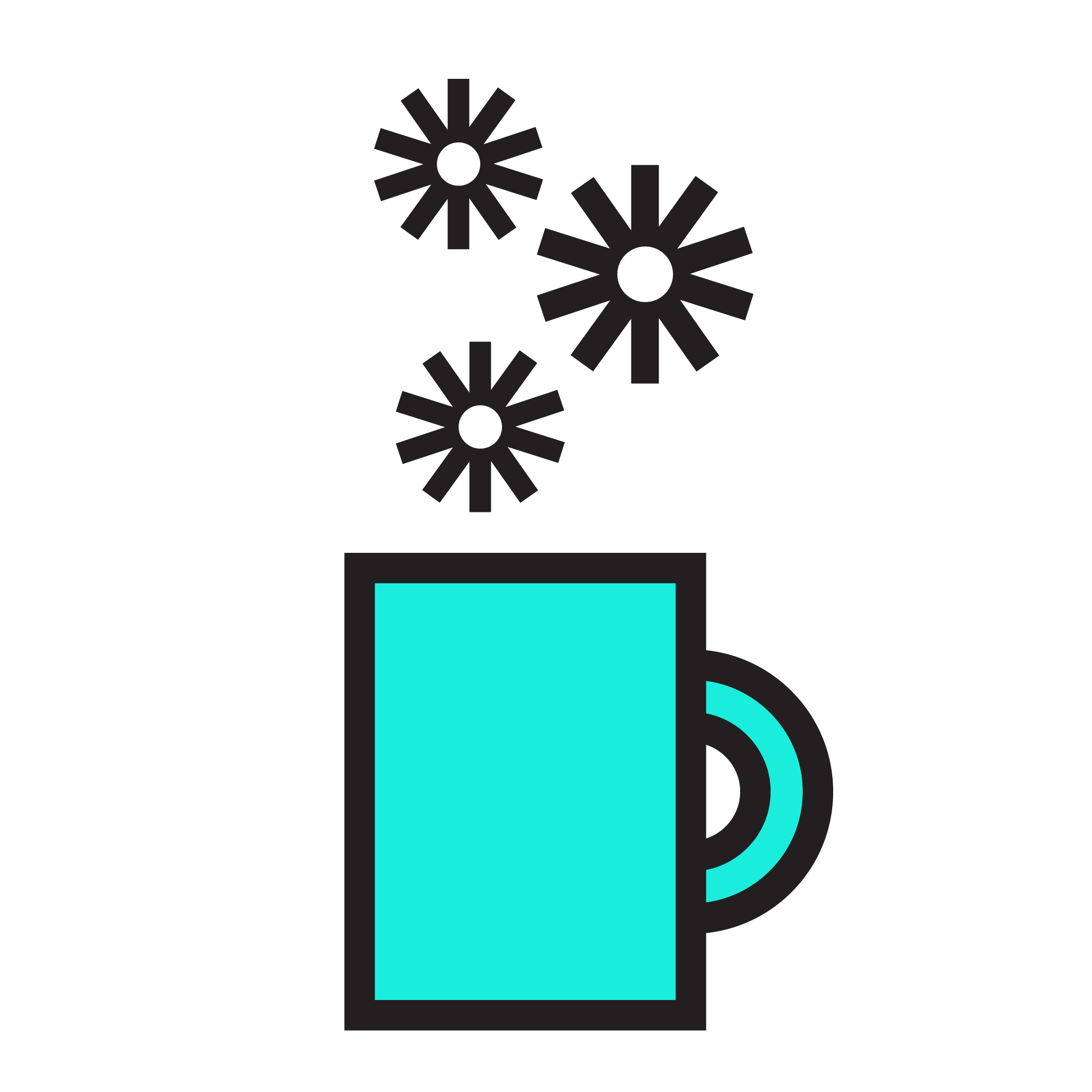A coffee mug illustration. Floating above it are 3 of GMCDP's motif's.