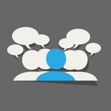 Outline of 5 people with speech bubbles above their heads on a grey background. The middle person is blue and the other people are white.